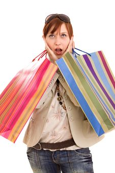 Free Young Woman With Shopping Bags Stock Image - 10218071