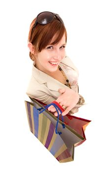 Free Young Woman With Shopping Bags Royalty Free Stock Image - 10218076