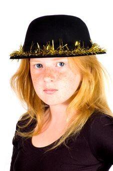 Free Girl Is Wearing A Black Hat With Golden Streamer Stock Photo - 10218400