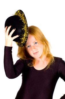 Free Girl Is Wearing A Black Hat With Golden Streamer Stock Photography - 10218432