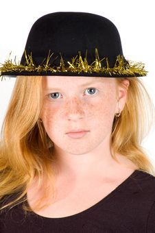 Girl Is Wearing A Black Hat With Golden Streamer Royalty Free Stock Images