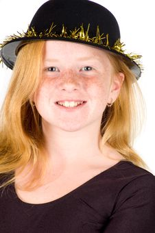 Free Girl Is Wearing A Black Hat With Golden Streamer Royalty Free Stock Photo - 10218635