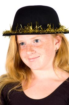 Girl Is Wearing A Black Hat With Golden Streamer Stock Photography