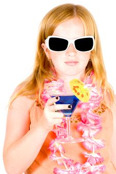 Girl Is Drinking A Blue Cocktail Royalty Free Stock Photography