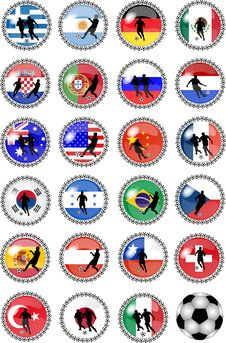 Free Big Set Of Soccer Buttons - National Teams Stock Photography - 10219352