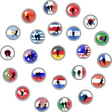 Free Big Set Of Soccer Buttons - National Teams Royalty Free Stock Images - 10219359