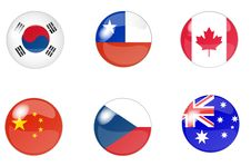 Set Of Buttons With Flag 5 Royalty Free Stock Image
