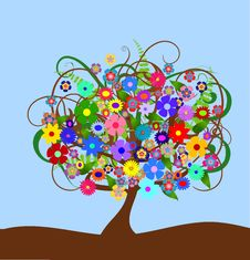 Free Colorful Abstract Flower Tree Stock Photos - 10219383