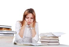 Free Worried Girl Between Lot Of Books Stock Photo - 10219490
