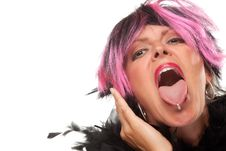 Free Pink And Black Haired Girl With Pierced Tongue Out Stock Photo - 10219720