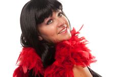 Free Pretty Girl With Red Feather Boa Royalty Free Stock Photos - 10219728