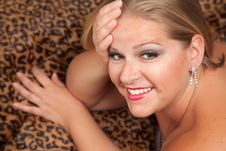 Free Beautiful Blonde Woman Poses On Leopard Blanket. Royalty Free Stock Image - 10219776
