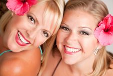 Free Beautiful Smiling Girls With Hibiscus Flowers Royalty Free Stock Image - 10219786