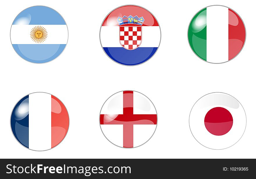 Set of buttons with flag 1