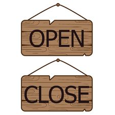 Free Open Close Signs Made Of Wood. Stock Images - 102148434
