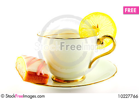 Free Tea And Cake With Slice Of Lemon Royalty Free Stock Image - 10227766