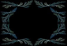Free Leafy Aqua Fractal Frame With Black Copy Space Royalty Free Stock Image - 10220736