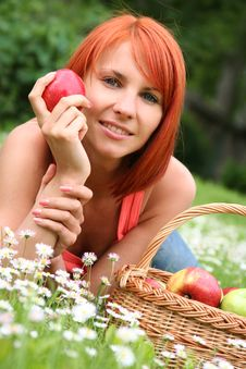 Free Beautiful Girl With A Basket Stock Photo - 10222760