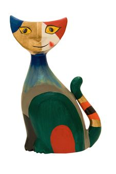 Wooden Cat Figurine Stock Photo