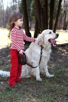 Free Friends - Girl With Retriever Stock Photography - 10224402