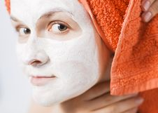 Woman With Face Pack Stock Photos