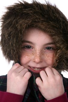 Free Cute Girl With Freckles In Warm,fuzzy Hood Royalty Free Stock Photography - 10225227