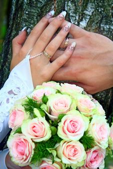 Hands Rings And Bouquet Stock Photography