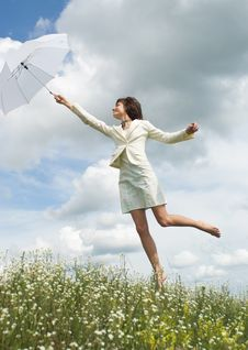 Free The Woman With  Umbrella Stock Photography - 10226222