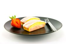 Strawberry Slices And Fork Stock Images