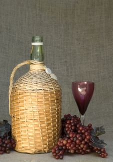 Wine Bottle With Grapes And Glass Still-life Stock Photos