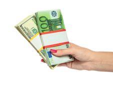 Woman Hand Holding Money Stock Photo