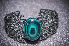 Bronze Bracelet With Malachite Stock Photos