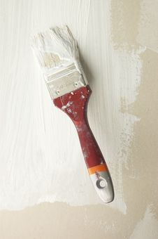 Free Brush In White Paint On Wall Stock Photography - 10230022