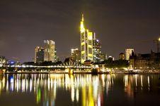 Free The Frankfurt Skyline At Night Royalty Free Stock Photos - 10232358