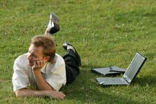Free Relaxing Businessman On The Grass Stock Photography - 10232582