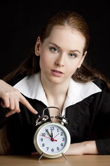 Free Businesswoman With An Alarm Clock Royalty Free Stock Photography - 10233557