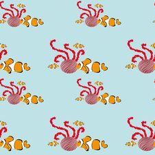 Seamless Clownfish Pattern Royalty Free Stock Photos