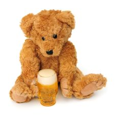 Teddy With A Pint Stock Image