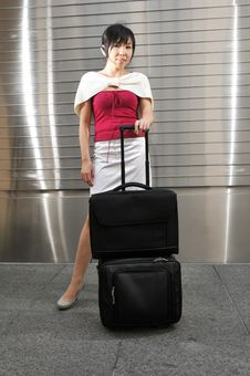 Free Young Asian Woman With Luggage Stock Photos - 10235553