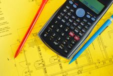 Free Scientific Calculator And Pen On Yellow Plan Royalty Free Stock Photography - 10235667