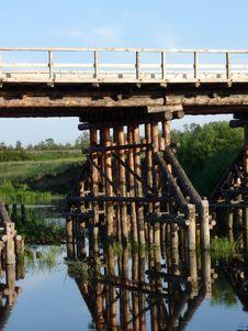 Wooden Bridge Footing Stock Photo