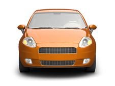 Free Orange Small Car Front View Stock Photography - 10236592