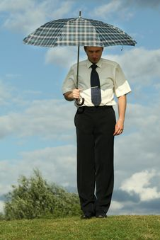 Free Businessman With Umbrella Royalty Free Stock Photos - 10236928