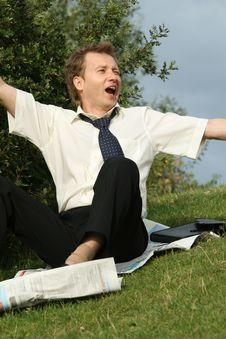 Drunken Businessman Woke Up Stock Photo