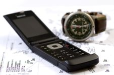 Telephone Watch And Map Stock Image