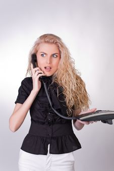 Free Shocked Businesswoman With A Phone Royalty Free Stock Photo - 10238515