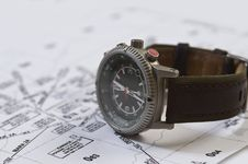 Watch Compass And Map Royalty Free Stock Photography
