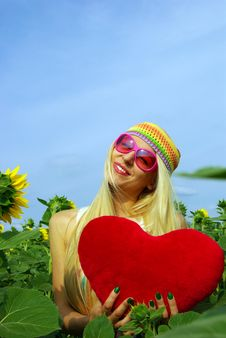 Free Beautiful Blonde In Pink Glasses Stock Image - 10239391