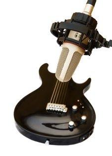 Free Studio Recording Microphone With Guitar Stock Images - 10239404