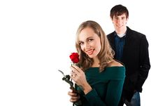 Free Happy Couple With Rose Royalty Free Stock Photo - 10239475
